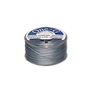 thread, toho beads, one-g™, nylon, grey, size 0, sold per 50-yard spool.