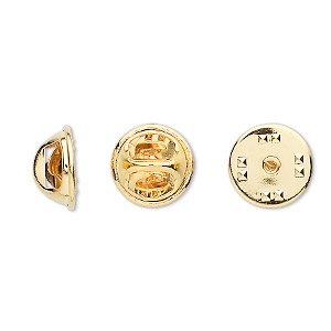 tie tac clutch, gold-plated brass, 11.5x6.5mm squeeze style. sold per pkg of 10.