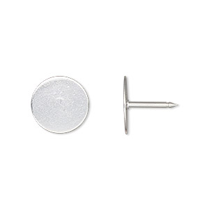 tie tac, silver-plated brass, 12mm flat round pad. sold per pkg of 100.