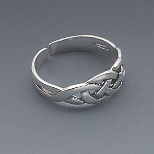 toe ring, antiqued sterling silver, 5mm wide with celtic knot design, adjustable. sold individually.