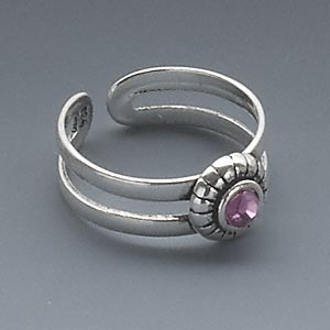 toe ring, antiqued sterling silver and crystal, rose, 14x7mm flower design, adjustable. sold individually.