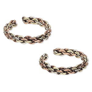 toe ring, brass and copper, 3.5mm wide with interlocked chain link design, adjustable. sold per pkg of 2.