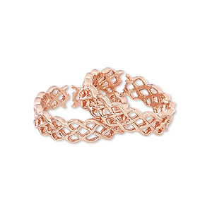 toe ring, copper, 5.5mm wide with filigree design, size 6. sold per pkg of 2.