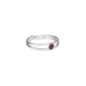 toe ring, glass rhinestone and sterling silver, amethyst purple, 3mm wide, adjustable. sold individually.
