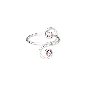toe ring, glass rhinestone and sterling silver, pink, 16mm wide with double spiral, adjustable. sold individually.