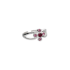 toe ring, glass rhinestone and sterling silver, pink and ruby red, 8mm wide, adjustable. sold individually.