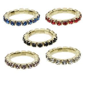 toe ring mix, stretch, glass rhinestone and gold-finished brass, mixed colors, 2.5mm round, size 2-3. sold per pkg of 5.