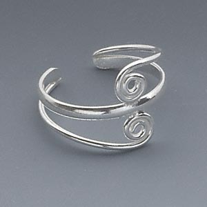toe ring, sterling silver, 14x12.5mm double swirl design, adjustable. sold individually.