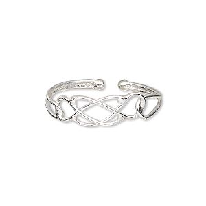toe ring, sterling silver, 6mm wide with filigree design, adjustable. sold individually.