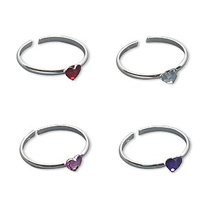 toe ring, sterling silver and crystal, assorted colors, 3.5mm wide with heart, adjustable. sold per pkg of 4.