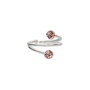 toe ring, sterling silver and glass rhinestone, peach, 2mm wide with 4mm faceted round, adjustable. sold individually.
