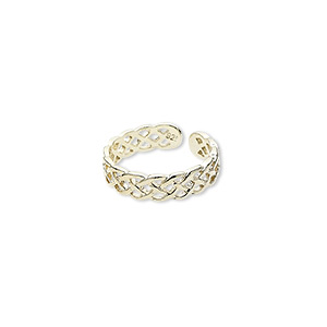toe ring, sterling silver with gold flash-plating, braided wire design, adjustable. sold individually.