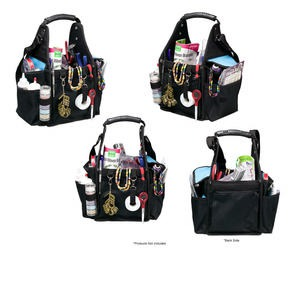 tote organizer, polyester, black and turquoise blue, 16 x 11 x 9 inches with handle. sold individually.
