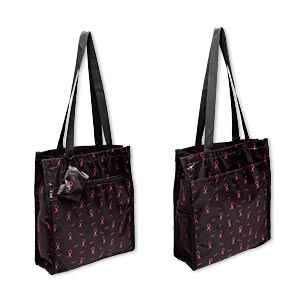 tote, polyester and nylon, pink and black, 13 x 12 x 4 inches with breast cancer awareness ribbon design, velcro and zipper closure, 12-inch arm straps and detachable 3-1/2 x 2-1/2 inch coin purse. sold individually.