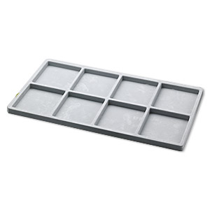 tray insert, flocked velveteen, grey, 14 x 7-3/4 x 1/2 inches with (8) 3-1/4 x 3-1/2 inch compartments. sold per pkg of 2.