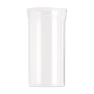 vial, squeezetops™, plastic, clear, 2-1/2 x 1-1/4 inch cylinder with attached lid. sold per pkg of 6.