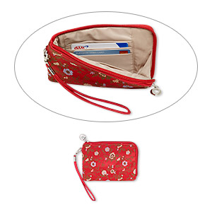 wallet, silk damask with silver-plated steel and pewter (zinc-based alloy), red and multicolored, 6-1/2 x 4-1/4 inch rectangle wristlet with floral design. sold individually.