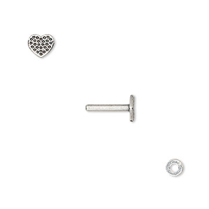 washer and brad, antique silver-plated brass, 4x0.7mm and 11x6mm with 6x5.5mm heart with dot design and 1.5mm post diameter. sold per pkg of (2) 2-piece sets.