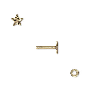 washer and brad, antiqued brass, 4x0.7mm and 10.5x6mm with 6x6mm star and 1.5mm post diameter. sold per pkg of (2) 2-piece sets.