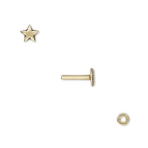 washer and brad, antiqued brass, 4x0.7mm and 10x5.5mm with 5.5x5mm star and 1.3mm post diameter. sold per pkg of (2) 2-piece sets.