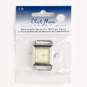 watch face, blue moon beads, glass / stainless steel / nickel-finished pewter (zinc-based alloy), green, 26x26mm square with dial and 2 end bars. sold individually. (may require replacement battery)