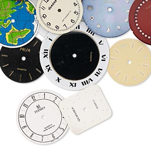 watch face mix, pewter (zinc-based alloy) and brass, mixed colors, 24-36mm mixed shape. sold per pkg of 12.