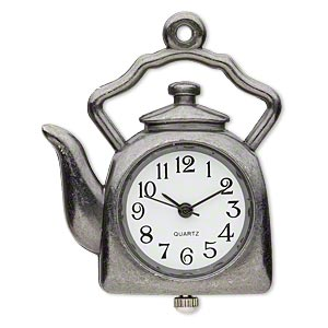 watch face, stainless steel and gunmetal-plated pewter (zinc-based alloy), white and black, 34x34mm single-sided tea kettle. sold individually.