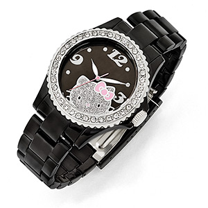 watch, hello kitty, acrylic / crystal / stainless steel, multicolored with silver-colored glitter, 19mm wide band with 40mm watch face and hello kitty face design, 8 inches. sold individually.