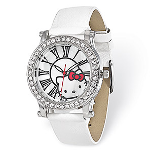 watch, hello kitty, faux leather / crystal / stainless steel / silver-plated pewter (zinc-based alloy), multicolored, 18mm wide band with 36mm watch face and hello kitty face with roman numerals, 8-1/4 inches. sold individually.
