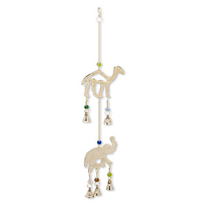 wind chime, brass / plastic / steel, multicolored, 15 inches with 3x2-1/4 inch double-sided elephant and 3-1/2 x 3-inch double-sided camel with clapper bells. sold individually.