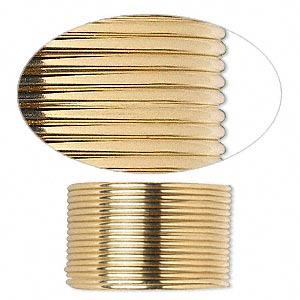 wire, 12kt gold-filled, dead-soft, half-round, 18 gauge. sold per pkg of 5 feet.