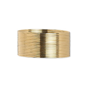 wire, 12kt gold-filled, dead-soft, half-round, 21 gauge. sold per pkg of 5 feet.