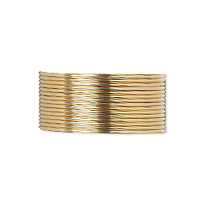 wire, 12kt gold-filled, dead-soft, round, 20 gauge. sold per pkg of 25 feet.
