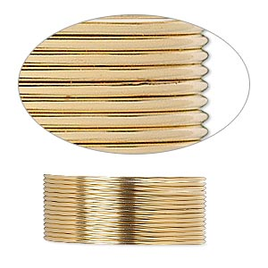 wire, 12kt gold-filled, dead-soft, round, 21 gauge. sold per pkg of 25 feet.