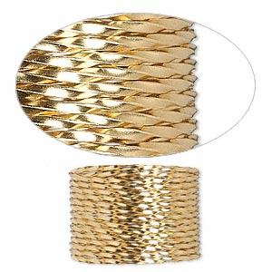 wire, 12kt gold-filled, dead-soft, twisted square, 18 gauge. sold per pkg of 5 feet.