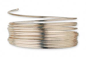 wire, 12kt gold-filled, full-hard, round, 20 gauge. sold per pkg of 25 feet.