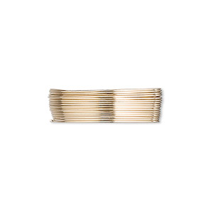 wire, 12kt gold-filled, full-hard, round, 26 gauge. sold per pkg of 5 feet.