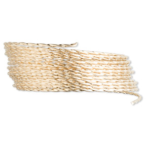 wire, 12kt gold-filled, half-hard, twisted square, 20 gauge. sold per pkg of 5 feet.