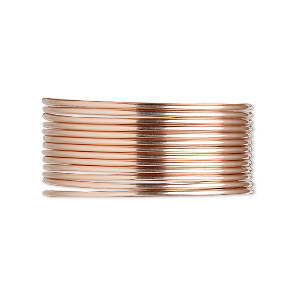 wire, 12kt rose gold-filled, dead-soft, round, 18 gauge. sold per pkg of 5 feet.