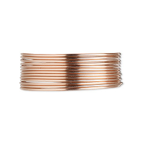 wire, 12kt rose gold-filled, dead-soft, round, 20 gauge. sold per pkg of 5 feet.