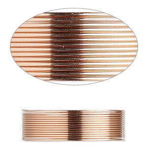wire, 12kt rose gold-filled, dead-soft, round, 22 gauge. sold per pkg of 25 feet.