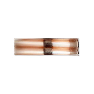 wire, 12kt rose gold-filled, dead-soft, round, 24 gauge. sold per pkg of 5 feet.
