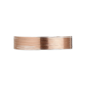 wire, 12kt rose gold-filled, dead-soft, round, 26 gauge. sold per pkg of 5 feet.