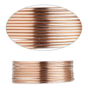 wire, 12kt rose gold-filled, half-hard, round, 20 gauge. sold per pkg of 5 feet.