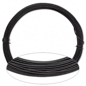 wire, anodized aluminum, black, 0.8mm round, 20 gauge. sold per pkg of 45 feet.