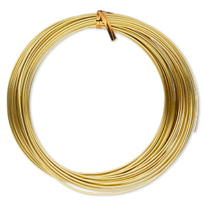 wire, anodized aluminum, gold, 1.5mm round, 14 gauge. sold per pkg of 45 feet.