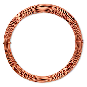 wire, anodized aluminum, orange copper, 0.8mm round, 20 gauge. sold per pkg of 45 feet.