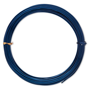wire, anodized aluminum, sapphire blue, round, 14 gauge. sold per pkg of 45 feet.