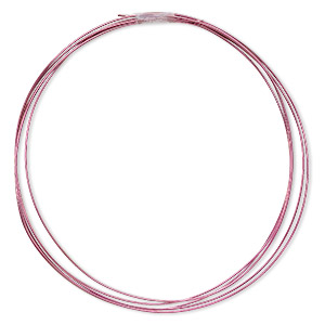 wire, anodized niobium, pink, half-hard, round, 20 gauge. sold pkg of 5 feet.