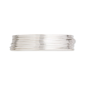 wire, argentium silver, full-hard, round, 22 gauge. sold per pkg of 5 feet.